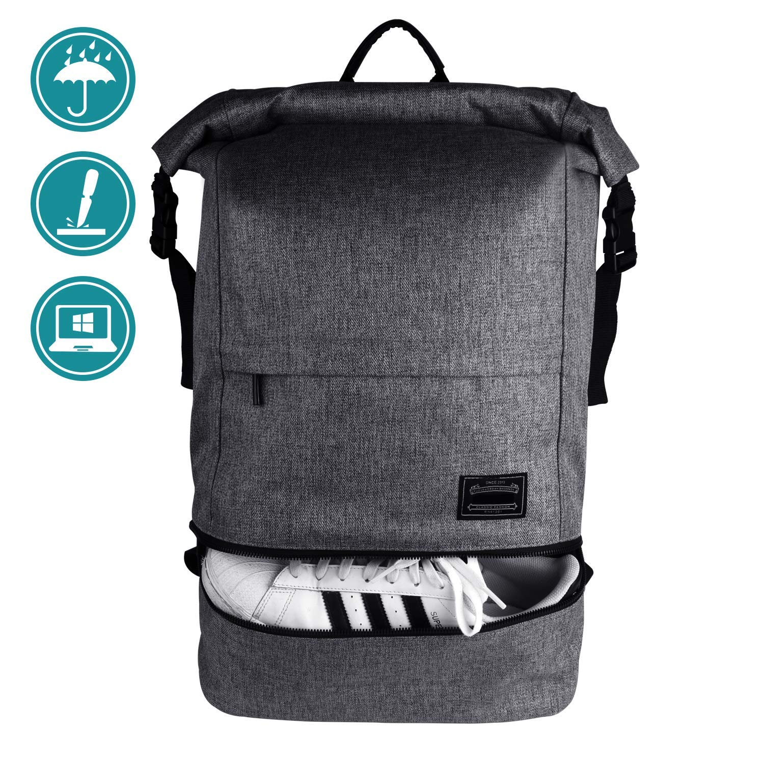 c7ad1d070607 Travel Laptop Backpack, ITSHINY Rucksack Anti-Theft Laptop Bag Roll ...